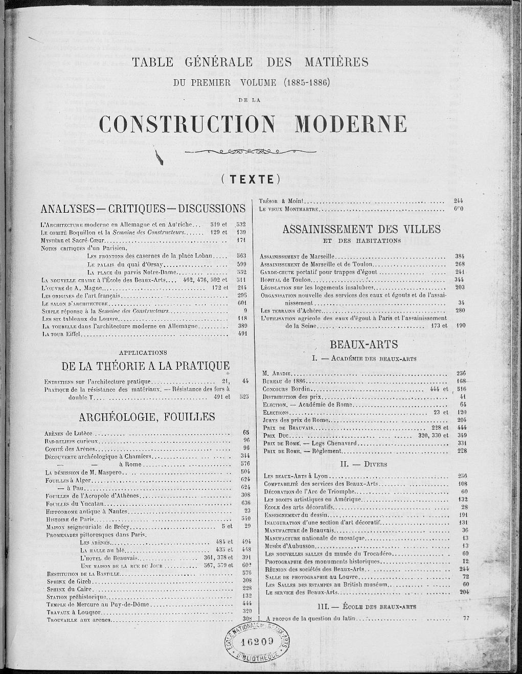 La Construction moderne, Index, 1885-1886 |