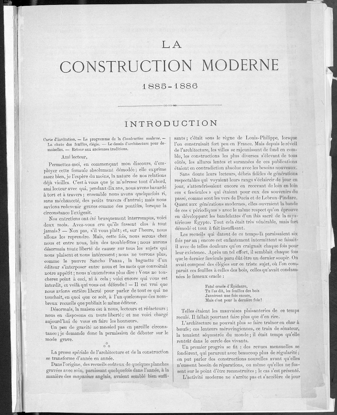 La Construction moderne, no. 1, 1885 |