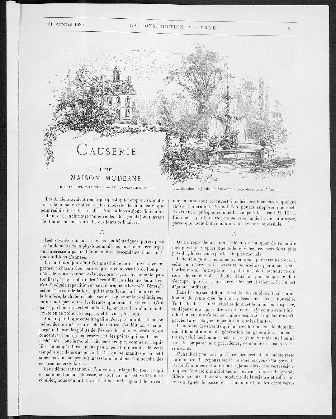 La Construction moderne, no. 3, 1885 |