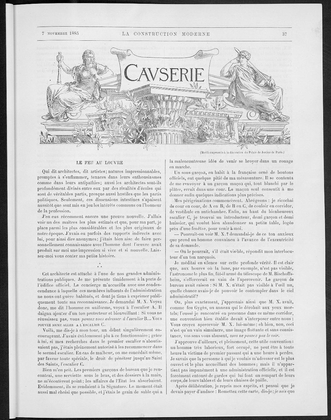 La Construction moderne, no. 4, 1885 |