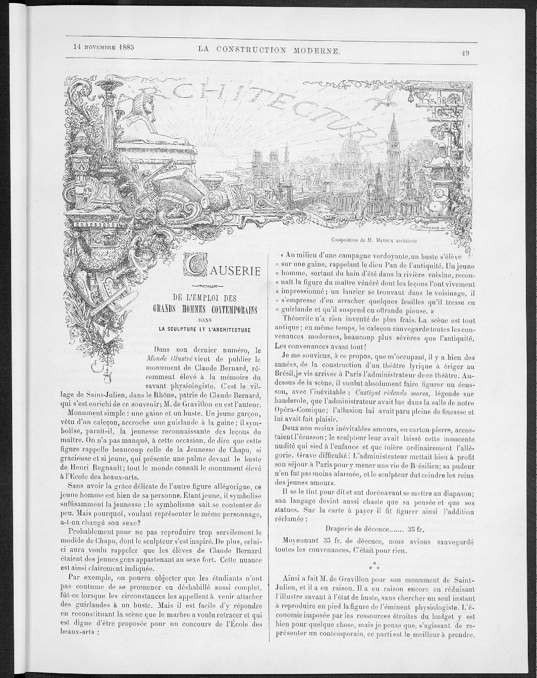 La Construction moderne, no. 5, 1885 |