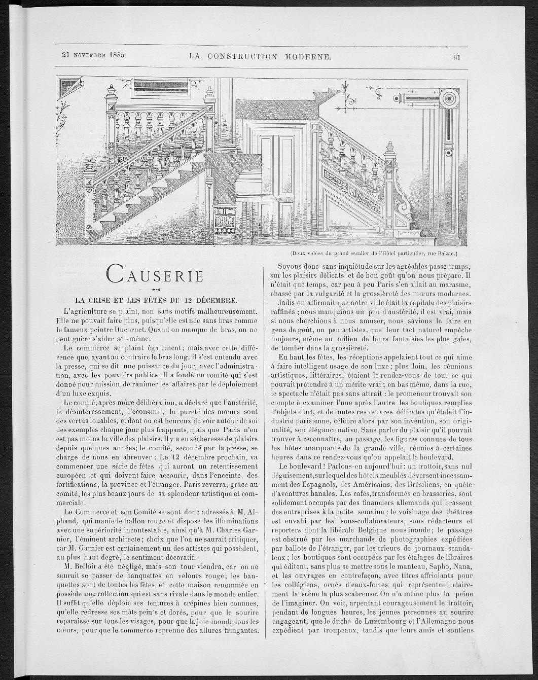 La Construction moderne, no. 6, 1885 |