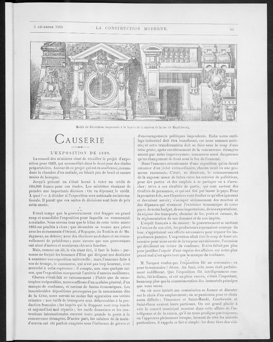 La Construction moderne, no. 8, 1885 |