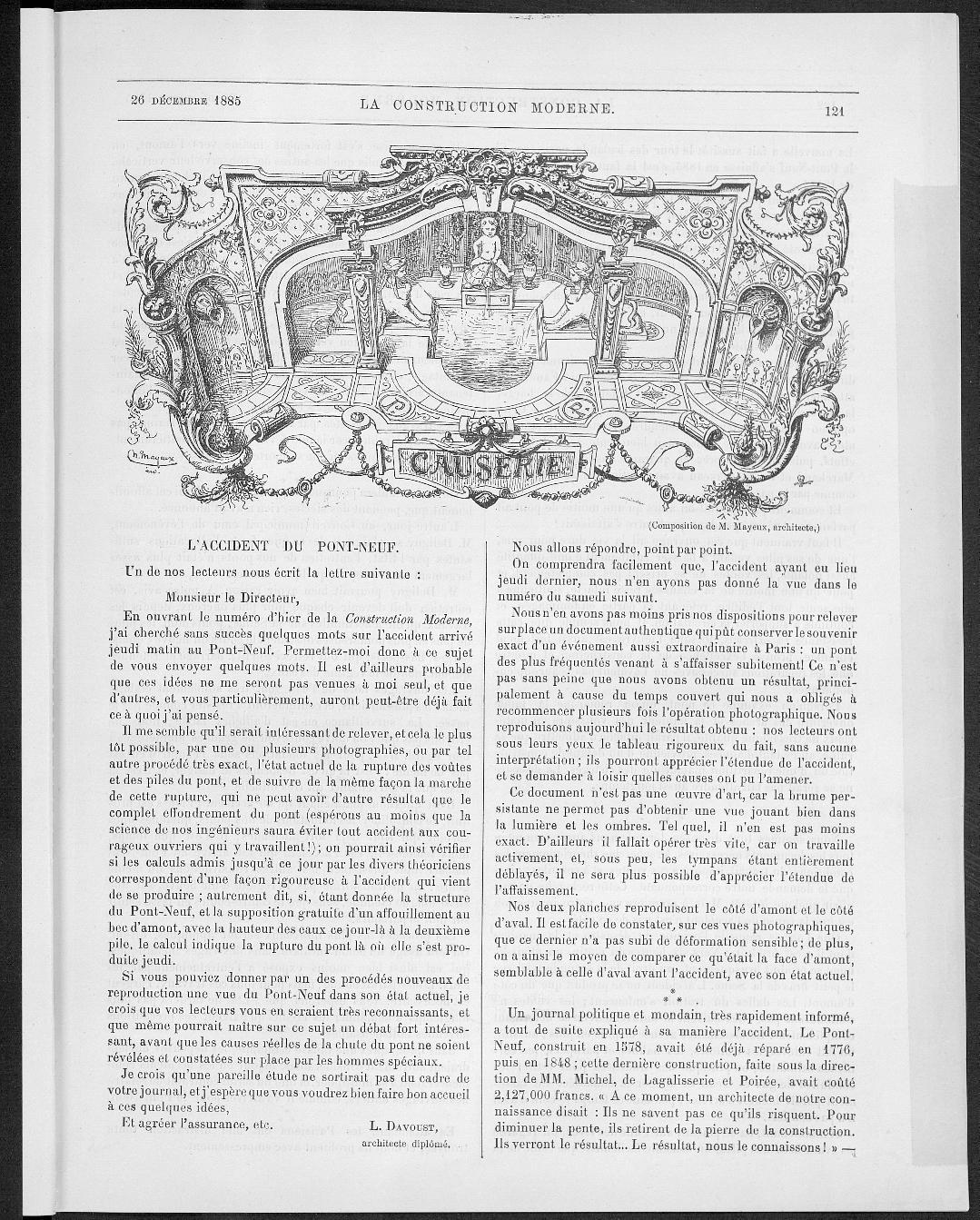 La Construction moderne, no. 11, 1885 |