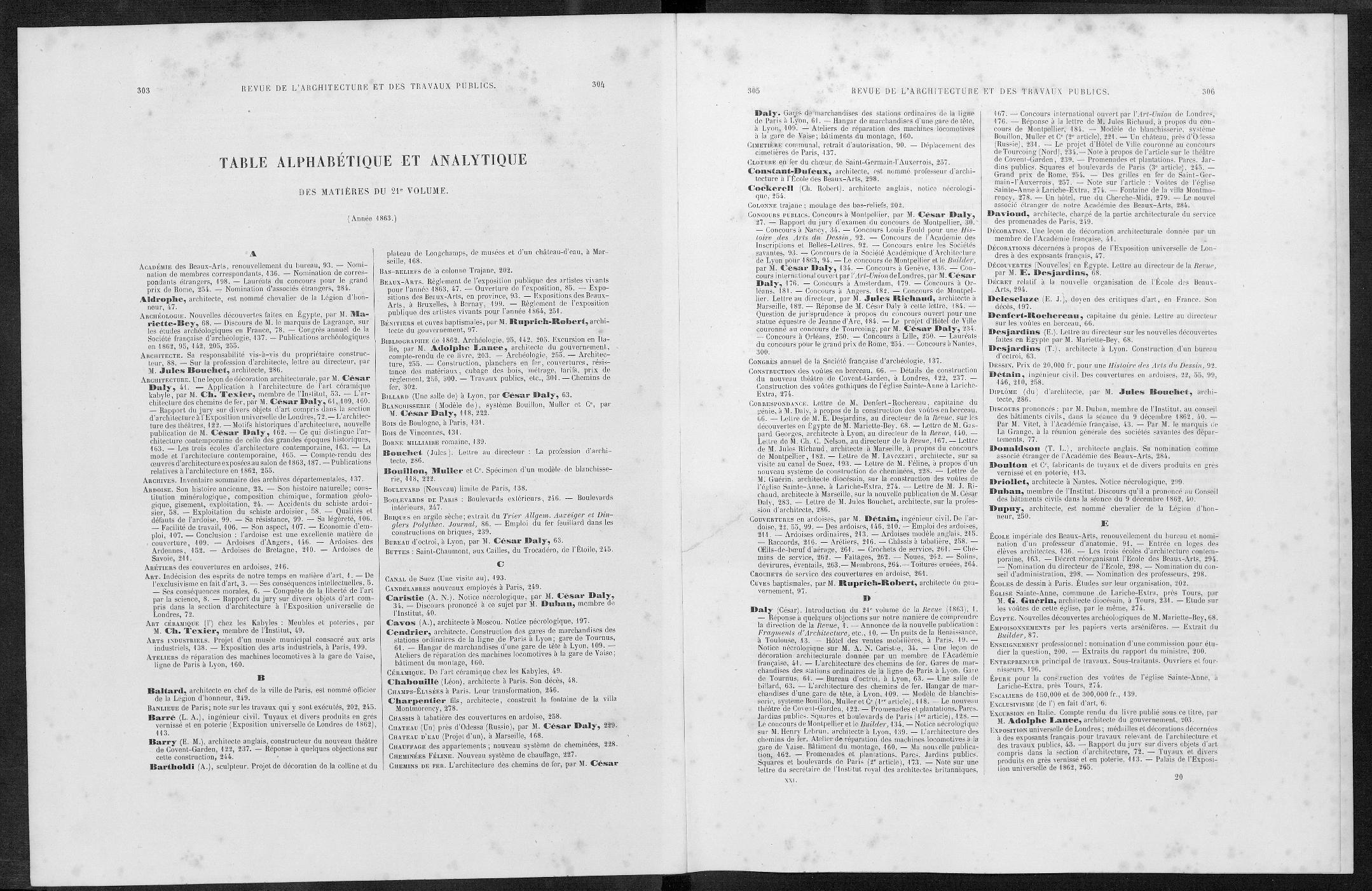 La revue générale de l'architecture, Index, 1863 |