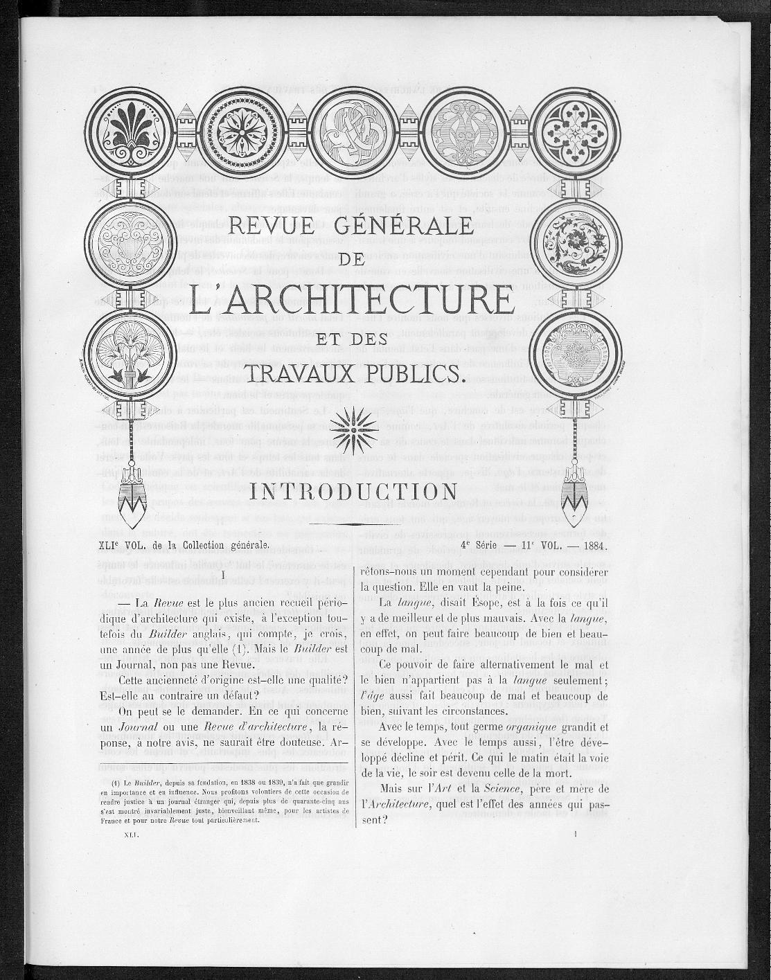LA REVUE GENERALE D'ARCHITECTURE  