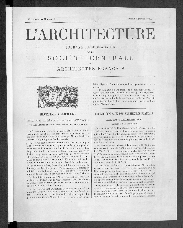 L'Architecture, no. 1, 1900 |