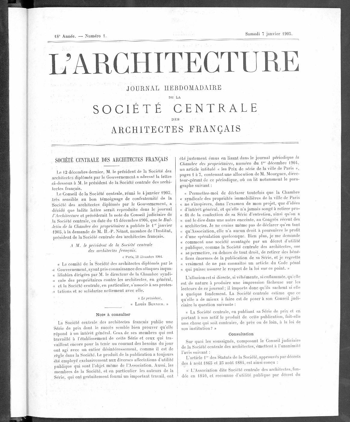 L'Architecture, no. 1, 1905 |
