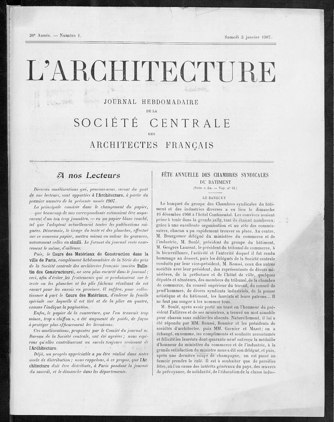 L'Architecture, no. 1, 1907 |