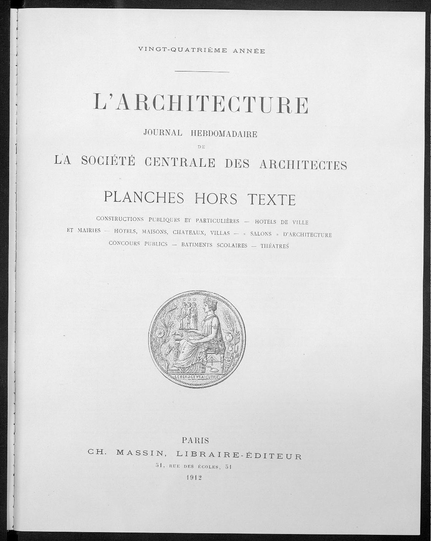 L'Architecture, Index, 1911  
