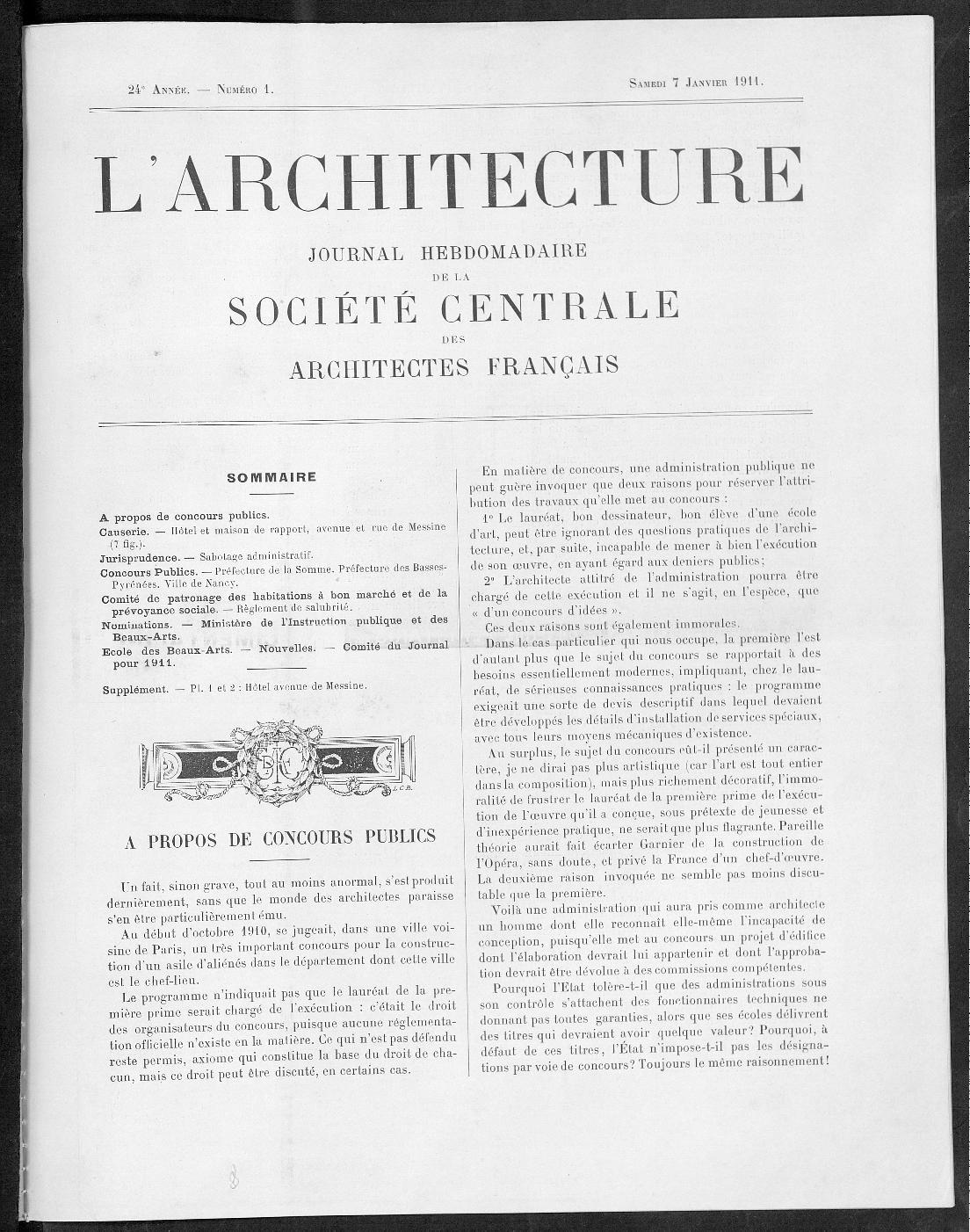 L'Architecture, no. 1, 1911  